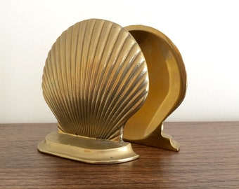Brass Shell Bookends Nautical Theme