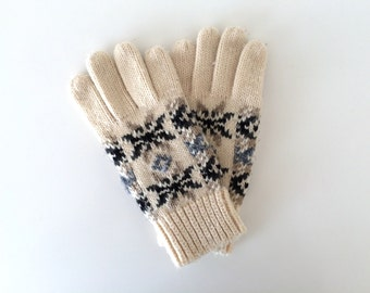 Vintage Ladies Snowflake Knit Gloves Leather Details - Womens One Size
