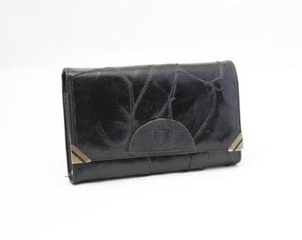 Vintage Black Leather Wallet, Ladies Wallet, Change Purse, Coin Purse