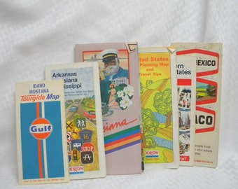Road maps for crafting or framing mid century vintage road maps lot of 6 Lot 1