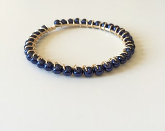 Navy Blue Pearl Wire Wrapped Gold Bangle Bracelet