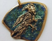 Raven Pendant - Bronze Pendant Hand Sculpted - Amulet -  Artisan Jewelry Supply -Mystical Jewelry - Totem Animal - Talisman