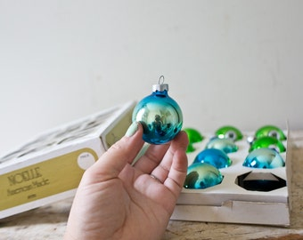Vintage Green and Blue Gradient Glass Ornaments - Christmas Tree Ornaments Colorful Various Inserts Great for Aluminum Tree Bluegreen