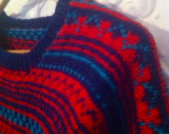 WINTER SALE 20% OFF !!Snuggy and soft pure woollen hand knitted , folky jumper . As new