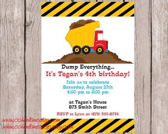 Printable Dump Truck Birthday Party Invitation.  Dump Truck Invite.