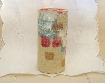 Handbuilt Stoneware Pottery Juice Glass, 6 oz, Bar Ware, Cobblestone Texture, Cream, Small Tumbler, Vase, Pencil Holder, Bathroom Accessory