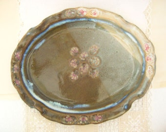 Stoneware Pottery Oval Serving Plate, Dish Set Spring Meadow