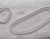 White Pearl Jewelry Set Wedding Multi Strand Necklace Bracelet Earrings Swarovski Pearl Necklace & Earrings Wedding Jewelry