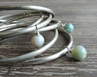 Stacked Bracelets: Gypsy Jewelry, Silver and Turquoise Agate Bracelets, Bohemian Indian Jewelry, Silver Bangles, Boho Bracelet Set, India