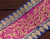 1 Yd-Pink & Blue Brocade Fabric Trim-Sari Border-Silk Ribbon-Floral Leafy Vine Design-Sari Fabric Trim-Art Quilt Fabric Trim By The Yard