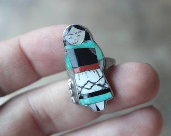 Zuni Maiden RING / Southwestern Inlay Jewelry / Sterling Silver Women' Figure Ring