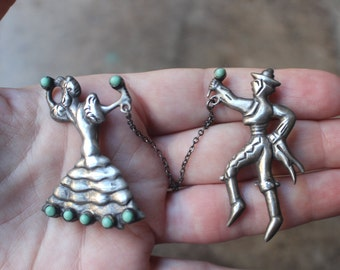 1920's Flamenco Dancer BROOCH Set / SilverTurquoise Vintage Mexico Jewelry / Dancer Pins