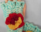 Crocheted Fingerless Gloves Aqua Blue and Ecru Acrylic with Burgundy Wool and Acrylic Rose Accent