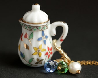 Foral Teapot Necklace. Porcelain Tea Pot Necklace with Blue & Green Crystals and Pearl Charm. Flower Teapot Necklace. Gold Necklace.