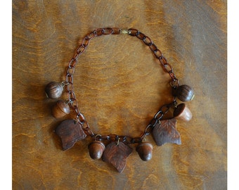 vintage acorn necklace / 1930s celluloid and wood necklace
