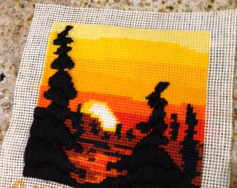 Small tiny stitch needlepoint yarn sunset cottage chic  stitchery 1970s