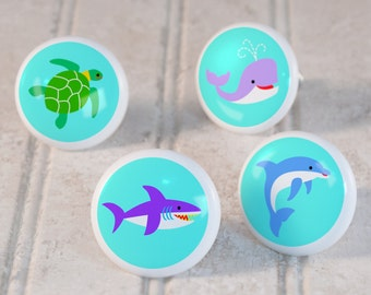 Kid's Ocean Animals Drawer Knobs, Ceramic Drawer Knobs, Decorative Knobs (Singles and Sets of 4), Kid's Bedroom Decor, Nursery Decor