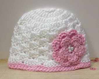 White Emma hat/ Pink flower and beads/ Made to Order