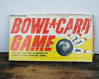 Vintage Bowl A Card Game By Edu Cards Not Complete for Parts and Pieces 1963