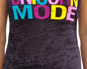 SoRock Women's Unicorn Mode Black Burnout Tank