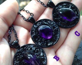 Round Amethyst and Black Tourmaline Necklace - Halloween Collection