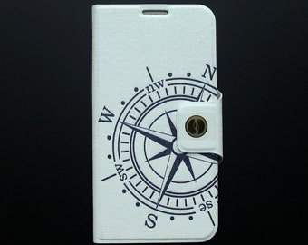 Samsung Galaxy S6 Flip case Painted Compass Galaxy S6 leather cover - PUFS6001