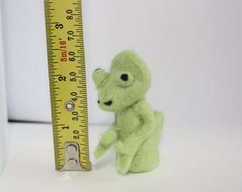 miniature chameleon needle felted sculpture