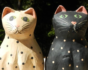 Two Cats Opposite Colors Hand Painted Vintage Pair Decorations