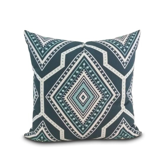 Modern Square Pillow Pull : Items similar to Santa Fe Gray Southwest Pillow. Aqua Gray modern square throw pillow. Southwest ...