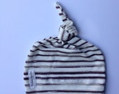 Organic baby knotted hat- brown and cream striped