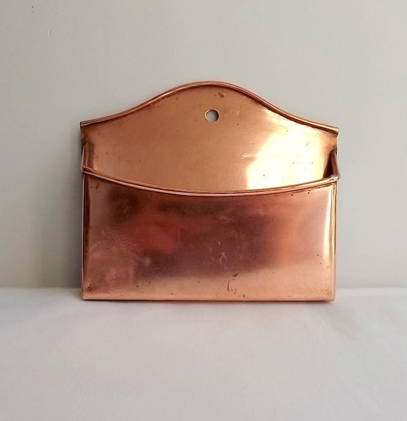 vintage copper letter rack mail rack french kitchen item wall hanging trinket holder
