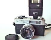 Vintage Yashika MG-1 35mm Rangefinder Camera w/ Strap, Yashika Flash and Carrying Case