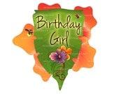 "Printable ""Birthday Girl"" Party Sign, Flower Birthday Girl Poster"