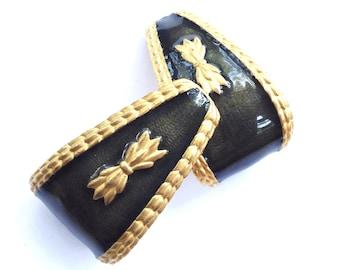 Guy Laroche Enamel Earrings Fleur de Lis Haute Couture  Designer Gold Leaf Clip On Statement Earrings
