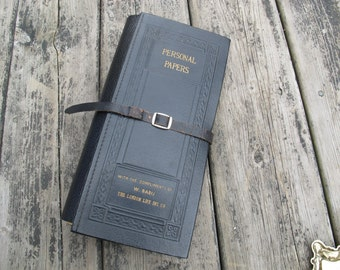 SALE London Life Insurance Important Papers Portfolio / Vintage Leather Personal Papers Folio / Expanding embossed portfolio