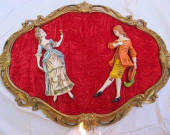 SALE Red velvet Rococo style picture / Dimensional vintage wall hanging / Italian pictoral wall art