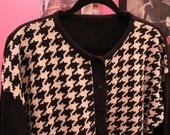 Vintage Houndstooth cardigan sweater 60s inspired