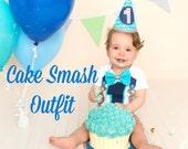 First Birthday Boys Design Onesie and Party Hat