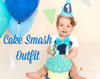 First Birthday Boys Design Bodysuit and Party Hat Aqua Navy Grey