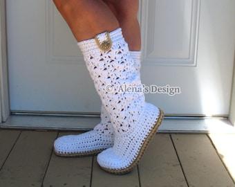 Elegant Women's Boots Crochet Pattern 138 Crochet Slippers Ladies Crochet High-Top Boots Crochet Patterns Lace White Boots Christmas