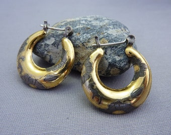 Gold and Silver Floral Hoop Earrings