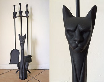 RARE Vintage 1950s CAT Fireplace Tools Black Wrought Iron MCM Mid Century Modern Midcentury Mod Home Decor Mad Men Living Room (not andirons