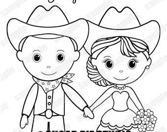 western country cowboy wedding coloring activity book printable personalized favor kids 85 x 11 pdf or - Wedding Coloring Books For Children