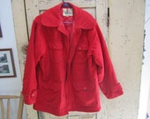 Woolrich Hunting Jacket. Red Wool Winter Coat. Red wool jacket. Woolrich Coat.  Heavy Warm Hunting Jacket size 40