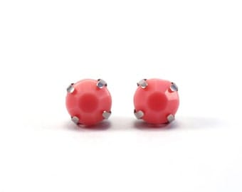 Coral Pink Stud Earrings, Salmon Pink Post Earrings, Acrylic Rhinestone Stud Earring, Stainless Steel Jewelry, Set of Three Pink Green White