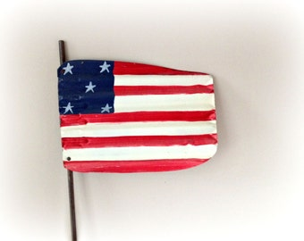 American Flag Rustic Corrugated Metal Flag Primitive Yard Art