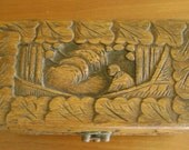 Hand Carved Wooden Box, Vintage, Asian