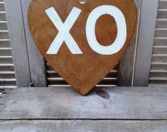 Wooden Heart XO Sign, Love Signage, Photo Wall Decor Sign, Stained and White Heart Love Sign