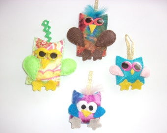 Handmade Set of 4 Felt   CRAZY OWL Ornaments