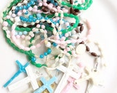 vintage rosary lot assorted colors religious necklaces with crosses 10 pieces lot C18
